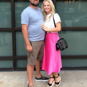 Express Hot Pink Midi Skirt- Size Small